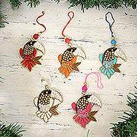 Beaded ornaments, 'Glamorous Toucans' (set of 5) - Beaded Toucan Ornaments from India (Set of 5)