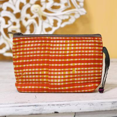 Batik cotton cosmetic bag, 'Scarlet Plaid' - Plaid Motif Batik Cotton Cosmetic Bag in Scarlet from India