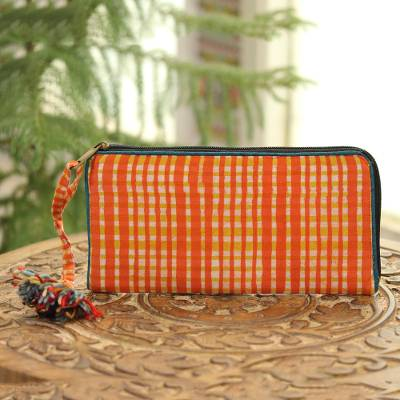 Batik cotton wallet, 'Scarlet Plaid' - Plaid Motif Batik Cotton Wallet in Scarlet from India