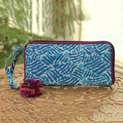 Batik cotton wallet, Creative Design in Azure