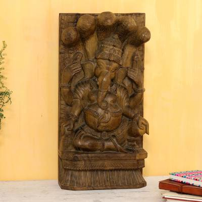 Mango wood sculpture, 'Ganesha Piety' - Hand-Carved Mango Wood Ganesha Relief Sculpture from India