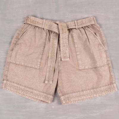 Cotton shorts, 'Summer Relaxation in Khaki' - Drawstring Cotton Shorts in Beige from India