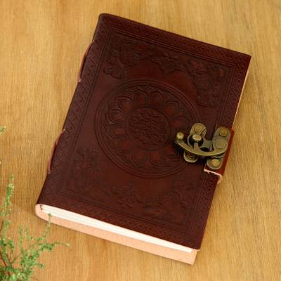 Embossed leather journal, 'Floral Mandala' - Embossed Leather Journal with Handmade Paper