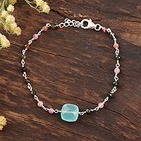 Chalcedony and tourmaline pendant bracelet, 'Colorful Combo' - Chalcedony and Tourmaline Pendant Bracelet from India
