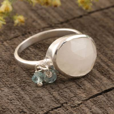 Rainbow moonstone and chalcedony cocktail ring, 'Misty Beads' - Rainbow Moonstone and Chalcedony Bead Cocktail Ring