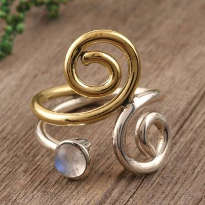 Rainbow moonstone band ring, 'Curling Union' - Rainbow Moonstone Ring with Sterling Silver and Brass
