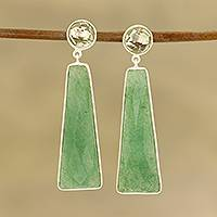 Aventurine and prasiolite dangle earrings, 'Green Towers' - Aventurine and Prasiolite Dangle Earrings from India