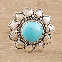 Reconstituted turquoise cocktail ring, 'Flower of the Sky' - Floral Reconstituted Turquoise Cocktail Ring from India