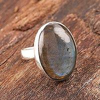 Labradorite cocktail ring, 'Aurora Ellipse' - Oval Labradorite Cocktail Ring from India