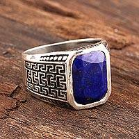 Men's lapis lazuli ring, 'Lapis Magnificence' - Men's 3-Carat Lapis Lazuli Ring from India