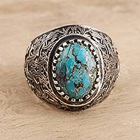 Men's composite turquoise ring, 'Intricate Style' - Men's Oval Composite Turquoise Ring from India