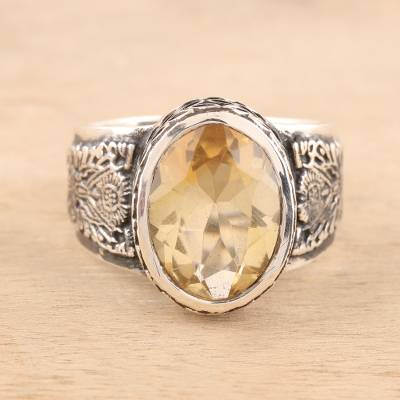 Men's citrine ring, 'Magnificent Glitter' - Men's 6-Carat Citrine Ring from India