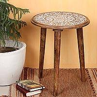 Wood accent table, 'Morning Magic' - Whitewashed Floral Wood Accent Table from India