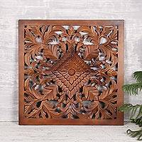 Mango wood relief panel, 'Floral Square' - Floral Mango Wood Relief Panel in Brown from India