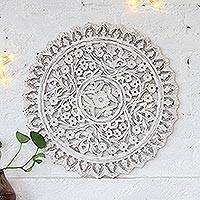 Wood relief panel, 'Snowy Bouquet' - Floral Wood Relief Panel in White from India
