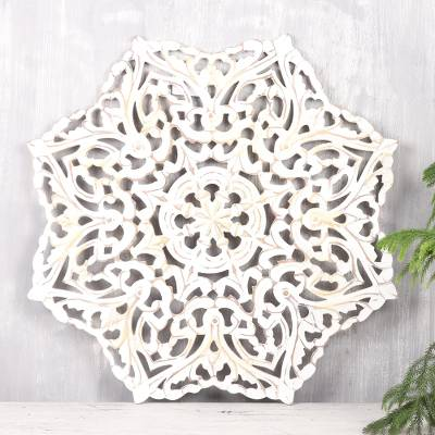 Wood relief panel, 'Floral Brightness' - Star-Shaped Floral Wood Relief Panel from India