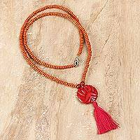 Bone and wood beaded pendant necklace, 'Glorious Medallion' - Bone and Wood Beaded Pendant Necklace in Red from India
