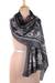 Cotton shawl, 'Paisley Charcoal' - Paisley Print Cotton Shawl in Charcoal from India (image 2a) thumbail