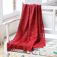 Viscose shawl, 'Cranberry Glimmer' - Embellished Viscose Shawl in Cranberry from India