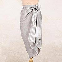 Cotton sarong, 'Stylish Stripes in Sage' - Handwoven Striped Cotton Sarong in Sage from India