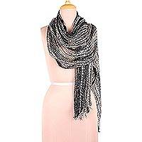 Viscose blend shawl, 'Midnight Glimmer' - Black Ivory and Ash Viscose Blend Shawl from India