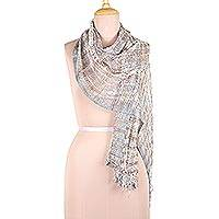 Viscose blend scarf, 'Elegant Harmony' - Colorful Patterned Viscose Blend Scarf from India
