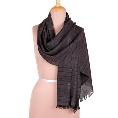 Viscose scarf, 'Navy Stripes' - Indian Viscose Wrap Scarf with Navy Stripes from India