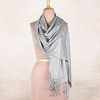 Silk shawl 'Silver Nights' - Pure Silk Shawl in Silver Grey from India