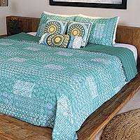 Cotton bedspread set, 'Kantha Charm in Seaglass' (3 piece) - Kantha Cotton Bedspread and Shams in Seaglass (3 Piece)