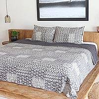 Cotton bedspread and pillow shams, 'Kantha Charm in Grey' (3 piece) - Kantha Cotton Bedspread and Shams in Grey (3 Piece)