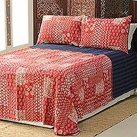 Cotton bedspread and pillow shams, 'Kantha Charm in Red' (3 piece) - Red Kantha Stitch Cotton Bedding Set from India (3 Pcs)