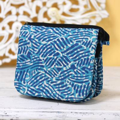 Batik cotton sling, 'Creative Design in Azure' - Wave Motif Batik Cotton Sling in Azure from India