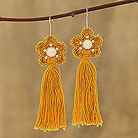 Crocheted cotton dangle earrings, 'Yellow Floral Tassel' - Cotton Crochet Yellow Flower Tassel Earrings from India