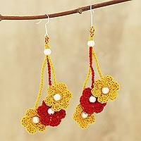 Cotton dangle earrings, 'Crochet Bouquet in Marigold' - Marigold and Crimson Floral Cotton Dangle Earrings