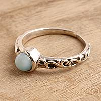 Larimar solitaire ring, 'Sky Globe' - Wave Pattern Larimar Solitaire Ring from India