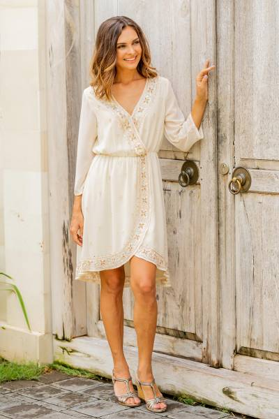 Beaded Viscose dress 'Georgette Glamour'  - Ivory Beaded Polyester Wrap-Style Dress