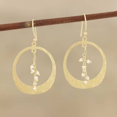 Gold plated cultured pearl dangle earrings, 'Moon Rain' - Gold Plated Cultured Pearl Dangle Earrings from India