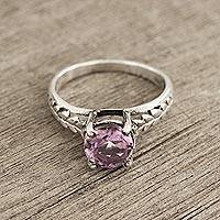 Amethyst solitaire ring, 'Sparkling Crown' - Faceted Amethyst Solitaire Ring Crafted in India