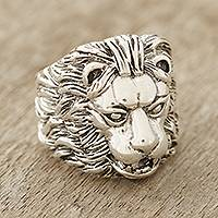 Men's sterling silver ring, 'King' - Men's Sterling Silver Lion Ring Crafted in India