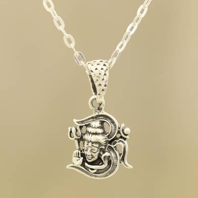 Sterling silver pendant necklace, 'Shiva Om' - Shiva Om Sterling Silver Pendant Necklace from India
