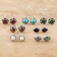 Multi-gemstone stud earrings, 'Everyday Pairs' (set of 7) - Artisan Crafted Multi-Gemstone Stud Earrings (Set of 7)