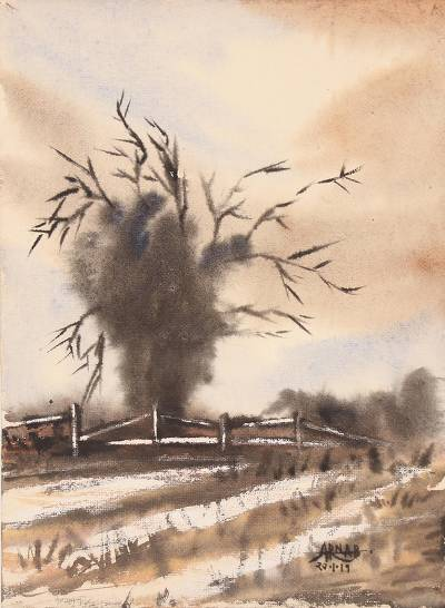 'Autumn Dusk' - Signed Watercolor Landscape Painting in Brown from India