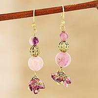 Quartz beaded dangle earrings, 'Royal Arrangement' - Pink and Purple Quartz Beaded Dangle Earrings from India