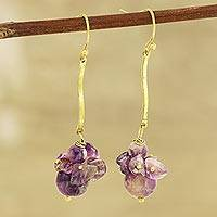 Quartz beaded cluster earrings, 'Gemstone Burst' - Purple Quartz Beaded Dangle Earrings from India