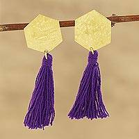 Brass and cotton dangle earrings, 'Hex Cascade' - Hexagonal Brass and Purple Cotton Dangle Earrings