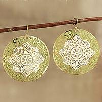 Brass dangle earrings, 'White Intricacy' - Hand-Painted Brass Dangle Earrings from India