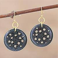 Hand carved dangle earrings, 'Jali Coffee' - Hand Crafted Dangle Earrings with Polished Brass Hooks