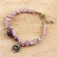 Quartz beaded bracelet, 'Purple Gorgeous' - Floral Purple Quartz Beaded Bracelet from India