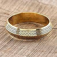 Brass bangle bracelet, 'Jali Gleam' - Jali Pattern Brass Bangle Bracelet from India