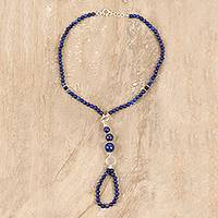 Lapis lazuli and onyx beaded harem anklet, 'Exotic Style' - Lapis Lazuli and Onyx Beaded Harem Anklet from India